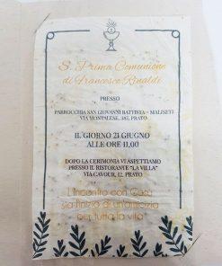 partecipazione prima comunione carta piantabile