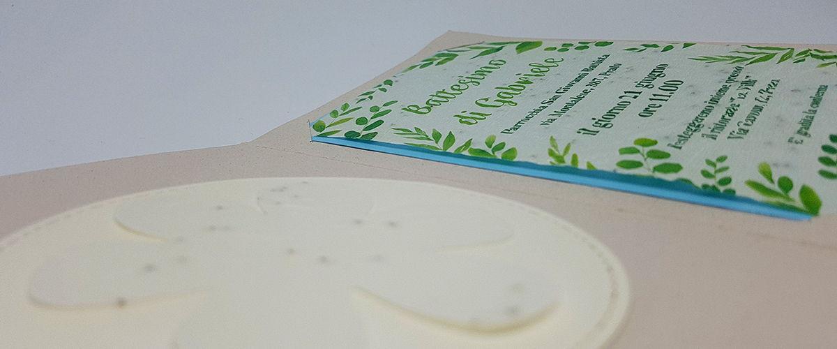 Invito battesimo in carta piantabile