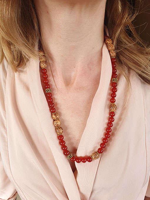 Collana in agata rossa