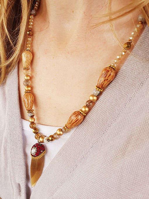 collana in agata striata marrone