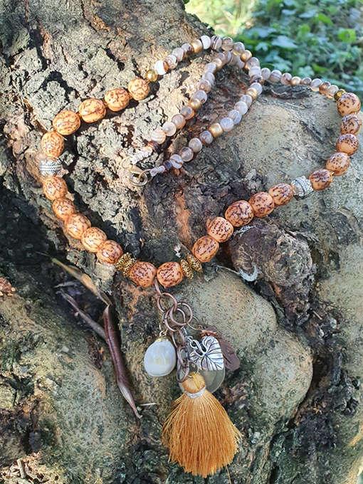 Collana agata striata con semi di salwag