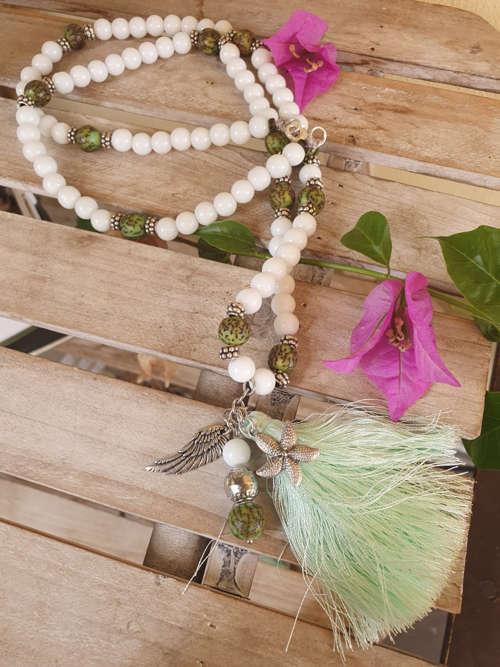 Collana agata bianca semi salwag